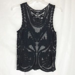Express embroidery lace sheer black tank top